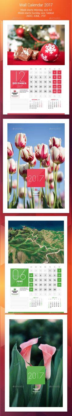 Wall Calendar 2017 Template InDesign INDD. Download here: https://graphicriver.net/item/wall-calendar-2017/17421480?ref=ksioks