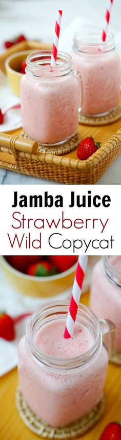 Jamba Juice Strawberry Wild Copycat – the easiest recipe that is exactly like the real smoothie at Jamba Juice. It's healthy and budget-friendly, plus made with clean eating friendly. Breakfast Smoothies, Smoothie Drinks, Healthy Smoothies, Healthy Drinks, Healthy Snacks, Healthy Recipes, Homemade Smoothies, Breakfast Fruit, Vegetable Smoothies