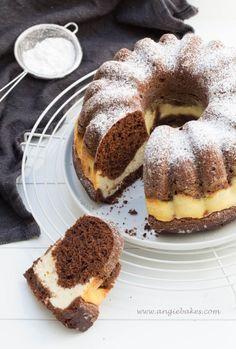Čokoládovo – tvarohová bábovka | Angie Doughnut, Tiramisu, French Toast, Bakery, Recipies, Cheesecake, Food And Drink, Cooking, Breakfast