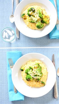 White Cheddar Polenta with Roasted Broccoli | Weeknight Society