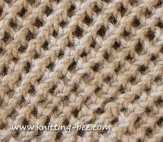 Abbreviations: k = knit tog = together yo = yarn over Cast on an odd number of stitches. Row 1: knit Row 2: k1 *yo, k2tog; rep from * to end Row 3: knit Row 4: k2 *yo, k2tog; rep from * to last st, k1 Four rows above make up the pattern.