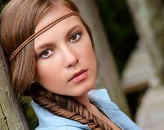 Brown Boho Headband, Boho Headband, Bohemian Headband, Double Strand Headband, Hippie Headband, Forehead Headband, Gypsy Headband