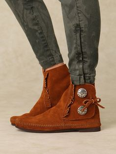 Minnetonka Two Button Bootie Moccasin - I bought these babies today. Soo comfy.