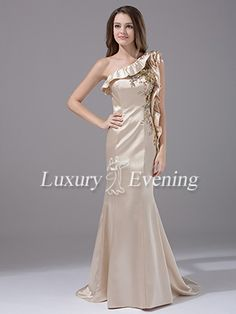 Champagne Mermaid Long Beaded One Shoulder With Straps Evening Dress - US$ 143.99 - Style E1402 - Luxury Evening