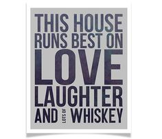 Modern Quote This House Runs Best on Love Laughter by EmbieOnline