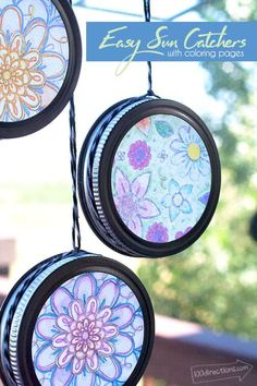 Easy crafts For Seniors - Easy Sun Catchers with Coloring Pages Quick Crafts, Crafts To Do, Cork Crafts, Cool Kids Crafts, Crafts For The Home, Simple Crafts For Kids, 5 Year Old Crafts, Wax Paper Crafts, Kids Diy