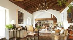 Color idea logs in creamy white up to where the ceiling starts. Leave ceiling original stain.