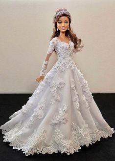 Barbie Bridal, Barbie Wedding Dress, Wedding Doll, Barbie Gowns, Barbie Dress, Barbie Clothes, Wedding Dresses, Barbie Doll, Barbie Fashionista