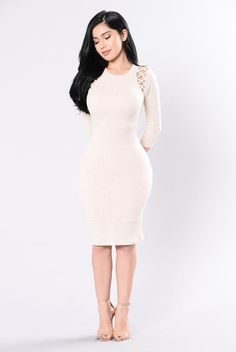 Charge Me Up Dress - Light Taupe