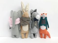 51 New Ideas For Knitting Animals Toys Etsy Handmade Stuffed Animals, Sewing Stuffed Animals, Stuffed Toys, Felt Dolls, Doll Toys, Sewing Toys, Sewing Crafts, Craft Projects, Sewing Projects