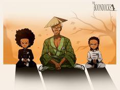 THE BOONDOCKS: Chi Meditation. Dope Cartoons, Dope Cartoon Art, Black Cartoon, Boondocks Comic, Boondocks Drawings, Character Concept, Character Art, Character Design, Brazilian Martial Arts