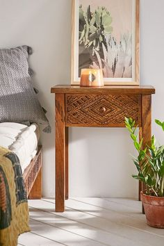 Carved Wood Nightstand - Beautifully boho nightstand crafted from natural Mango wood in a distressed finish - [ad]
