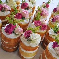Beautiful flowers on naked cupcakes!