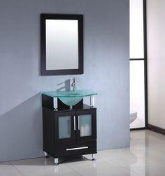 Modern Bathroom Vanity by MTD Vanities Discount Bathroom Vanities, Small Bathroom Vanities, Single Bathroom Vanity, Master Bathroom, Contemporary Style Bathrooms, Modern Bathroom, Glass Countertops, Wood Cabinets, Vanity Set