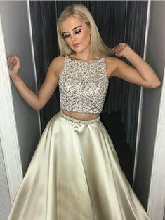 2018 Two Pieces A-line Prom Dresses Scoop Beading Long Prom Dress Evening Dresses AMY278