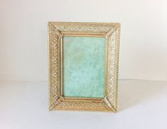 Vintage Gold Filigree Picture Frame 5x7 by RetroTiles on Etsy #wedding photo #table number #wedding decor
