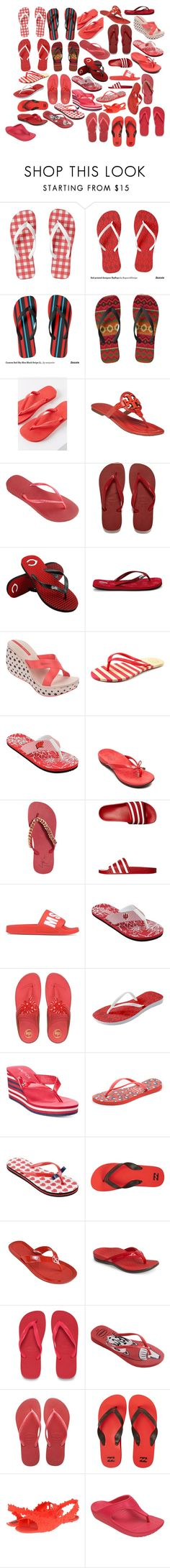 Red Flip Flops by rumagurl on Polyvore featuring Havaianas, Billabong, FitFlop, Inca, Nautica, IPANEMA, Forever Collectibles, Crocs, Tory Burch and Giuseppe Zanotti