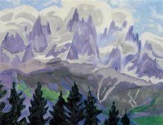 Bjergtinder - Formodentlig l'Aiguille Verte, Chamonix by Jens Ferdinand Willumsen