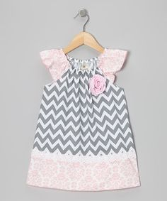 Take a look at this Gray & Pink Zigzag Angel-Sleeve Dress - Toddler & Girls by Million Polkadots on #zulily today!