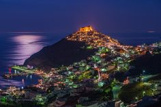 Popular on : Astypalaia at night! by GeorgePapapostolou Greek Islands, Santorini, Places To See, Travel Photos, Tourism, Boat, Vacation, World, Night