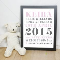 Personalised Birth Details Print No 2 by AlsoKnownAsCreative on Etsy