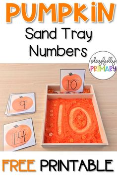 Preschool and Kindergarten students can use these pumpkin theme number cards to practice number recognition and formation. These cards may be used in handwriting sand or salt trays to practice number formation, number order, number lines, sensory bins, mo Fall Preschool Activities, Thanksgiving Preschool, Preschool Math, Kindergarten Math, Classroom Activities, Halloween Theme Preschool, Teaching Math, Maths, Ideas