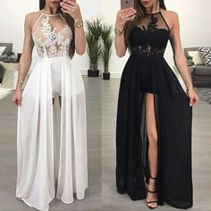 lace prom dresses long chiffon white halter a line sexy formal dress prom gowns casemento vestido de longo Sexy Formal Dresses, Short Beach Dresses, Cute Prom Dresses, Prom Outfits, Grad Dresses, Pretty Dresses, Homecoming Dresses, Beautiful Dresses, Evening Dresses