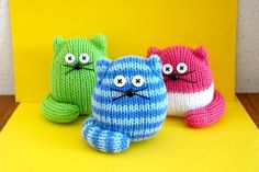 """With the success of my Quick Knit Owl pattern I thought I would make them some playmates. These cute cats are quick and very easy to make, just like the owls. The good thing is, they stand on their own, supported by their tails.They are knitted on 2 needles with 8 ply (DK) yarn so even a beginner can make them. They are about 8cm (3 1/4"""") high.I do not allow the copying of my patterns of any type but I do allow the selling of the finished goods"""