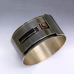 Bracelet | Brenda Roy. 'Bond'. Oxidized sterling silver, 14k, rough granite, orange sapphire