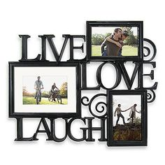 Celebrate the good times with this Live, Love, Laugh photo wall art. Hand finished with scroll details in antique black, this wall decor holds displays three photos.