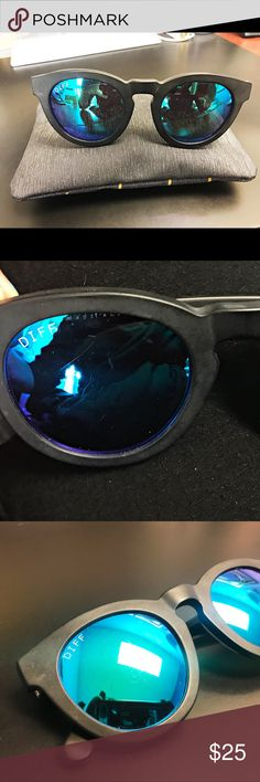 DIFF dime ll matte black and blue mirror lenses DIFF dime ll matte black and blue mirror lense  PreLoved Minor scratches, but do not effect vision at all Great buy! I have multiple pairs! Great go too! Diff Eyewear Accessories Sunglasses