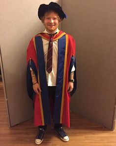 Here he is in his graduation robes. | So, Ed Sheeran's A Doctor Now
