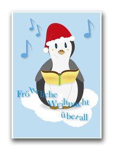 Pearl's Harbor Postkarte mit niedlicher Tiergrafik. Der Pinguin als Weihnachtskarte