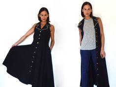 vintage black denim dress denim maxi dress sleeveless duster