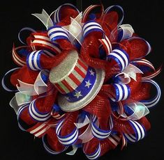 of July, RWB Memorial or Labor Day Wreath, Veterans Day, Rwb, Poly Mesh Wreath Patriotic Wreath, Patriotic Crafts, July Crafts, Summer Crafts, Wreath Crafts, Diy Wreath, Wreath Ideas, Hat Crafts, Wreath Making