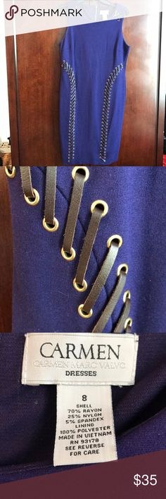 Carmen Marc valvo purple leather whipstitch dress Absolutely stunning stretch dress made of a thick material with tons of stretch. This one looks incredible on and showcases all of your curves! This dress was worn twice and is in excellent used condition. The color is more of a purple although it looks more blue in the photos the last photo shows the most accurate coloring Carmen Marc Valvo Dresses