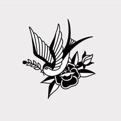Swallow and Rose - Old School Tattoo inspired design. - Swallow and Rose – Old School Tattoo inspired design. Black Ink Tattoos, Mini Tattoos, Small Tattoos, Tattoo Old School, Old School Tattoo Designs, Tattoo Stencils, Tattoo Fonts, Piercing Tattoo, Arm Tattoo