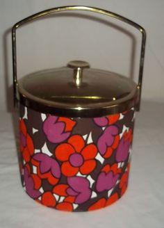 Vintage Ice Bucket Mod Floral Flower Power 1960's