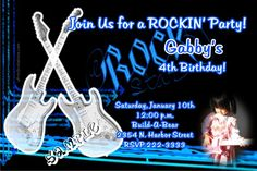 Rock Star Birthday Invitations   Get these invitations RIGHT NOW. Design yourself online, download and print IMMEDIATELY! Or choose my printing services.   No software download is required. Free to try!
