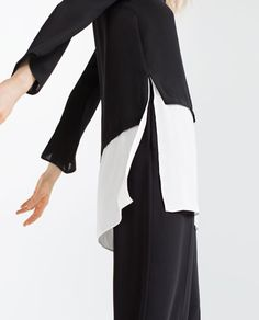 LARGE CONTRAST LONG BLOUSE-Long-TOPS-WOMAN | ZARA Netherlands