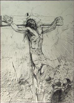 passion of the christ in pencil  | 2557 crucifixion rough sketch item 2557 bisley simon pencil misc