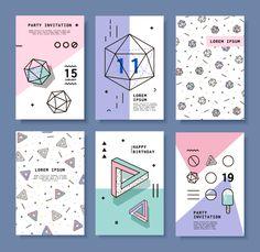Cards With Geometric Elements Memphis Stock Vector Illustration 407273743 : Shutterstock Bg Design, Media Design, Banner Design, Layout Design, Conception Memphis, Brochure Design, Branding Design, Plakat Design, Self Branding