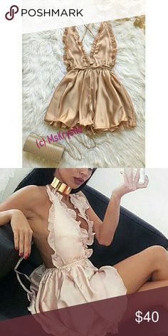 JUST IN! Satin Nude Romper This beauty is just in time for Spring. I have beige, green and pink in stock Please check other listings in my closet to view. bebe Dresses Mini