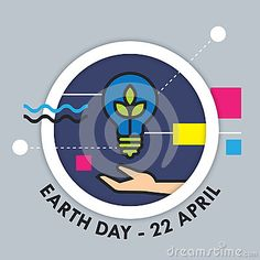 An illustration for earth day, consist of green leaves, hand, light bulb and text Earth Day - 22 April.
