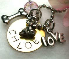 Chloe!!  Personalized Dog Necklace Charm Jewelry Dog by CharmAccents, $18.00