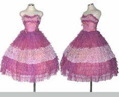1950s Purple Party Prom Dress w Ruffle Tulle Lace / Cupcake Cinderella Dress XS
