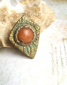 Orange Halloween bronze patina cocktail ring polymer clay chunky oversize statement ring dagger shaped ancient Under the Sea ring