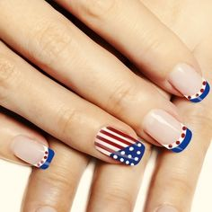 All of these nail designs and styles happen to be as easy as they are beautiful. If you are always trying to find creative ideas and brand-new designs, nail art designs are a good way to display your individuality as well as to be original. Simple Nail Art Designs, Toe Nail Designs, French Nails, Usa Nails, Patriotic Nails, Colorful Nail Art, 4th Of July Nails, Nagel Gel, Holiday Nails