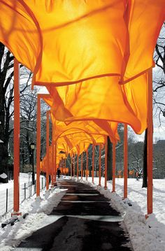 The Gates Installation in Central Park.  Walking through them in the early morning light was transformative for me.  I entered in one state of mind/being and came out the other side, knowing who I am and what direction I wanted to go.