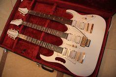 Mint White Golden Gear Triple neck 6/6/12 electric guitar Combo